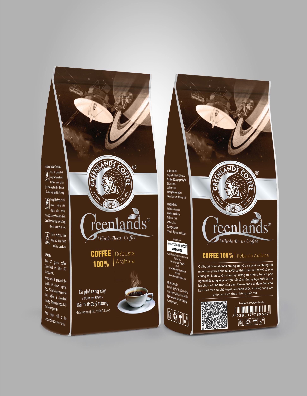 Greenlands coffee 250gr bao màu nâu