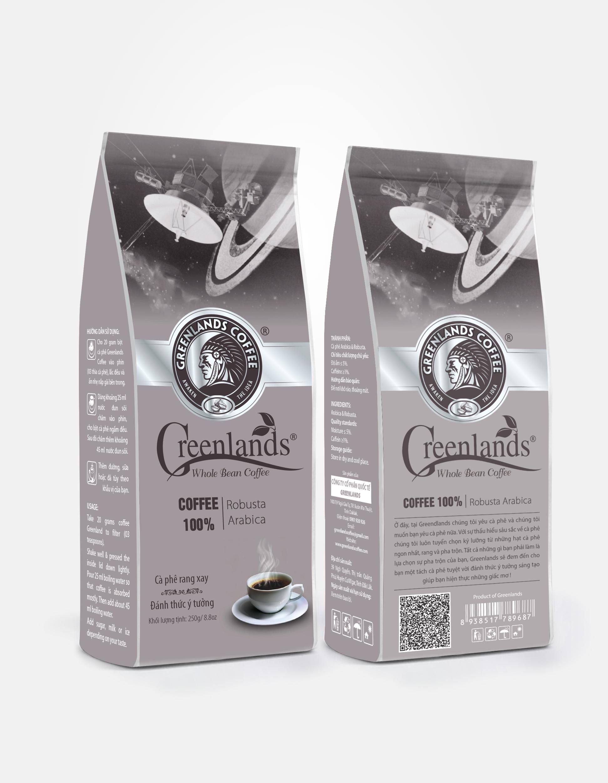 Greenlands coffee 250gr bao màu nâu nhạt